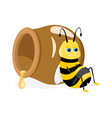 Cartoon bee sitting about honey pot on white vector