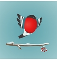Bullfinch flying and ashberry twig vector