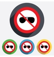 No glasses aviator sunglasses sign icon vector