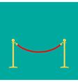 Red rope golden barrier stanchions turnstile green vector