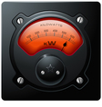 Analog electrical realistic meter red vector