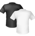 Black and white t-shirt back view on white vector