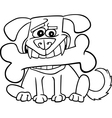 Cartoon dog with big bone for coloring vector