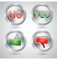 Yes and no thumbs up and down web buttons vector