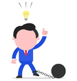 Businessman chained to ball with an idea vector