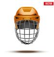 Classic orange goalkeeper ice hockey helmet vector