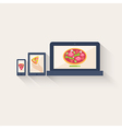 Three different pizza icons displayed online vector