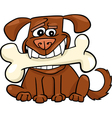 Cartoon dog with big bone vector