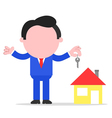 Businessman or realtor holding key to house vector