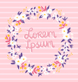 Romantic floral frame on a pink stripped vector