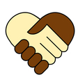Hand shake between black and white man vector