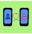 Doodle phones with love talk vector