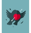 Bullfinch birds heart love couple with arrow vector