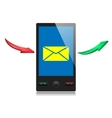 Mobile smart phone with message icon on a screen vector