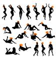 Naked girls silhouette set vector