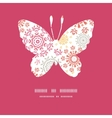 Folk floral circles abstract butterfly silhouette vector