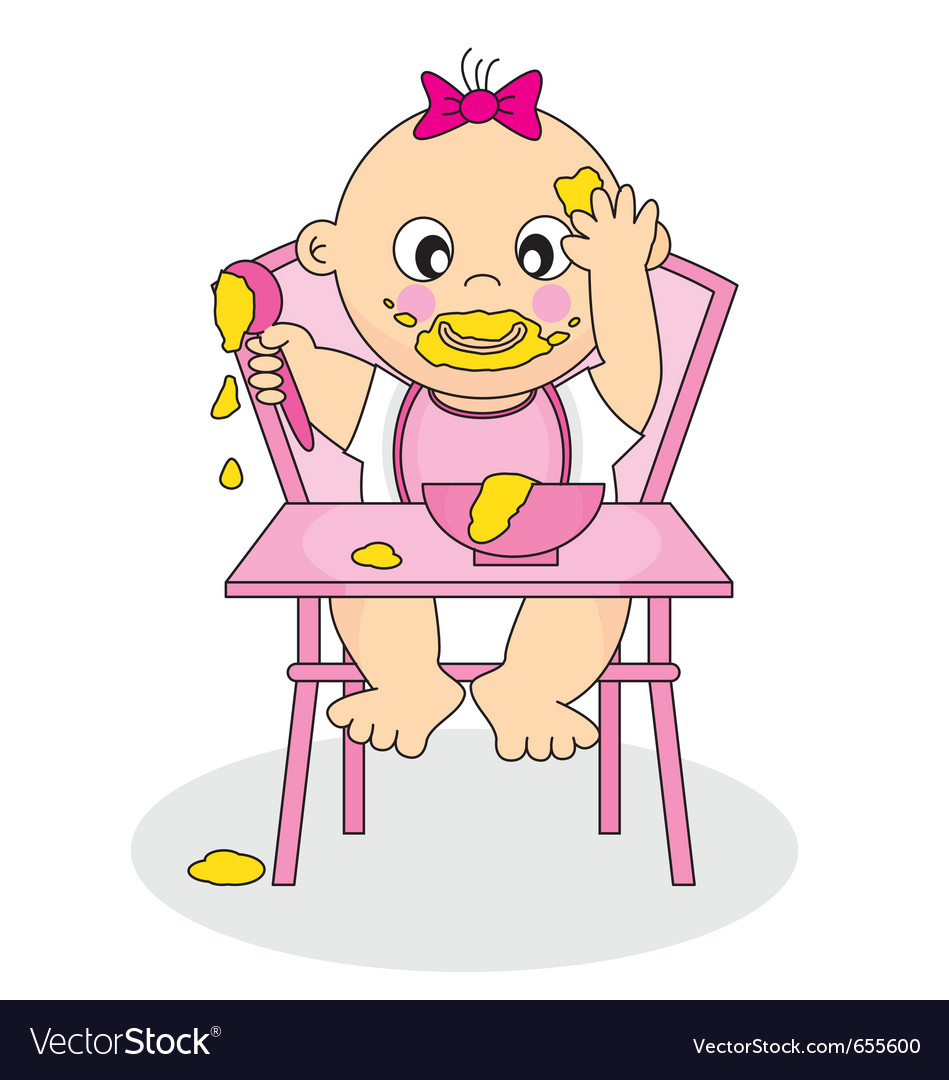 Baby girl eating vector | Price: 1 Credit (USD $1)