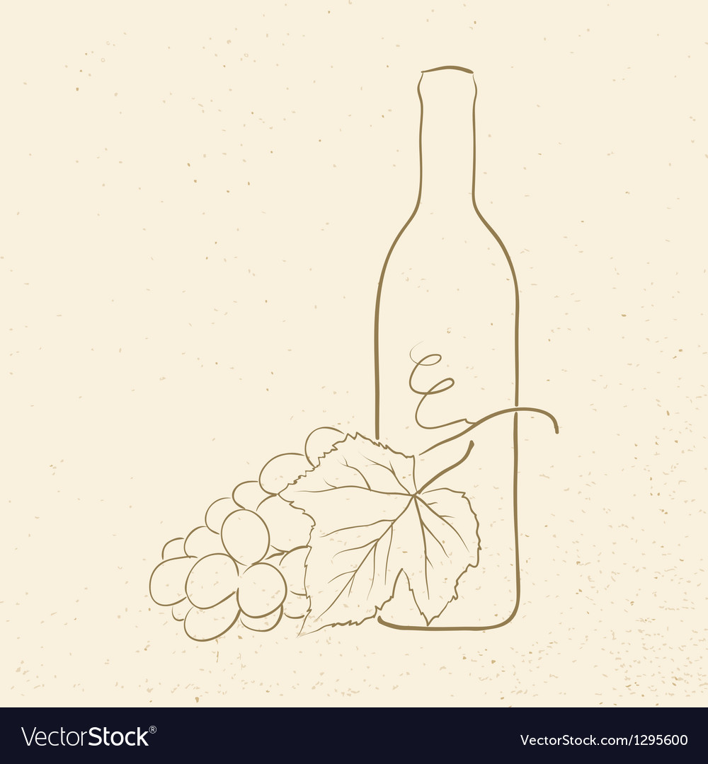Bottle of wine and grapes vector | Price: 1 Credit (USD $1)