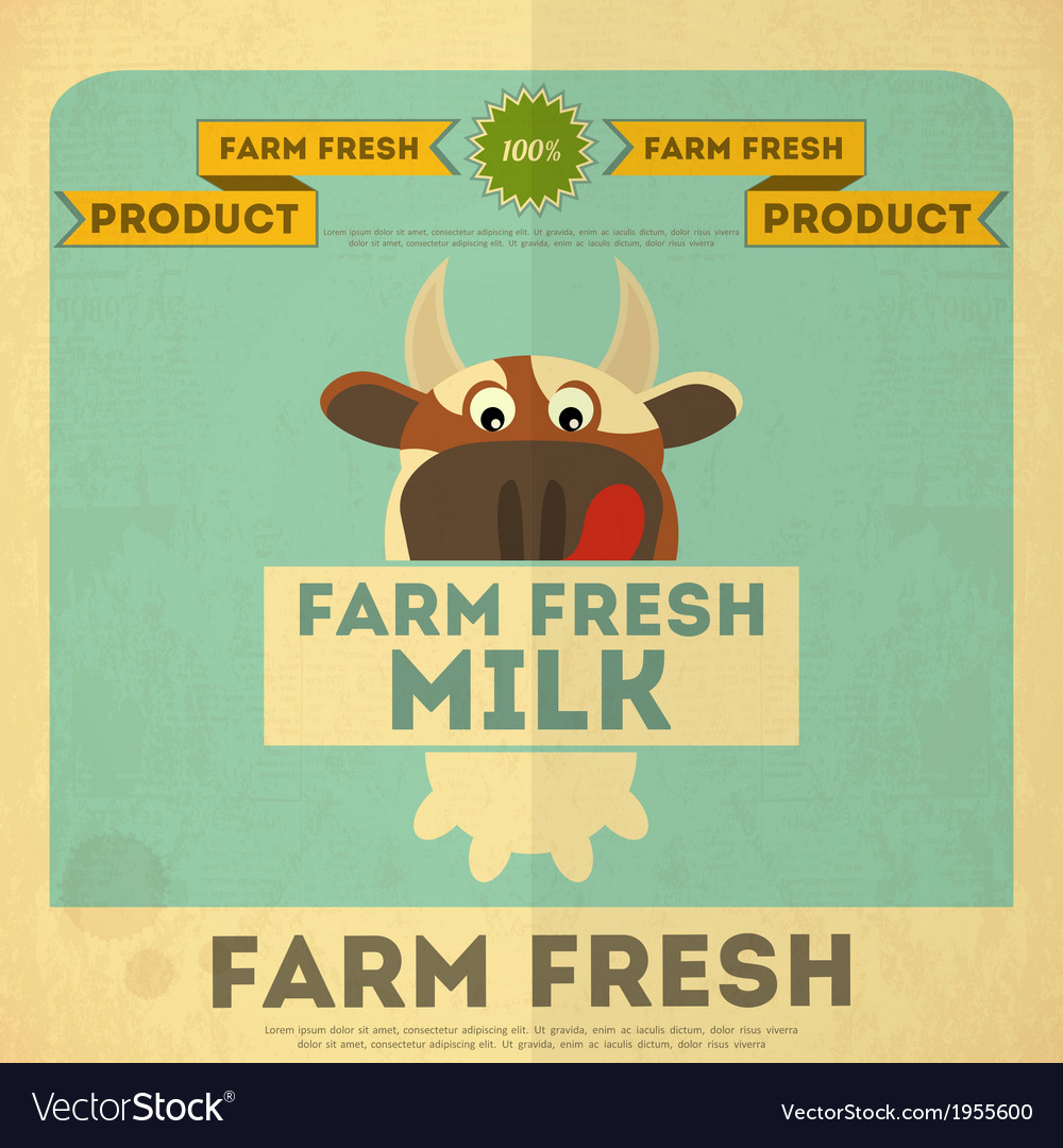 Cow milk poster vector | Price: 1 Credit (USD $1)