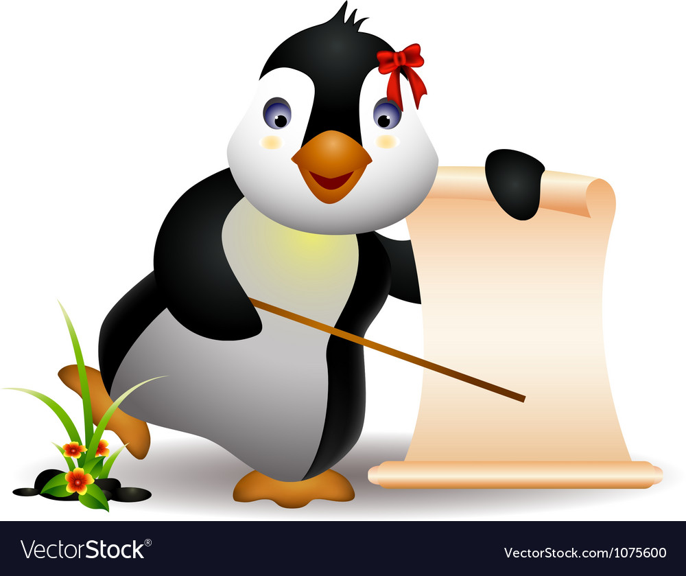 Cute penguin with blank sign vector | Price: 3 Credit (USD $3)