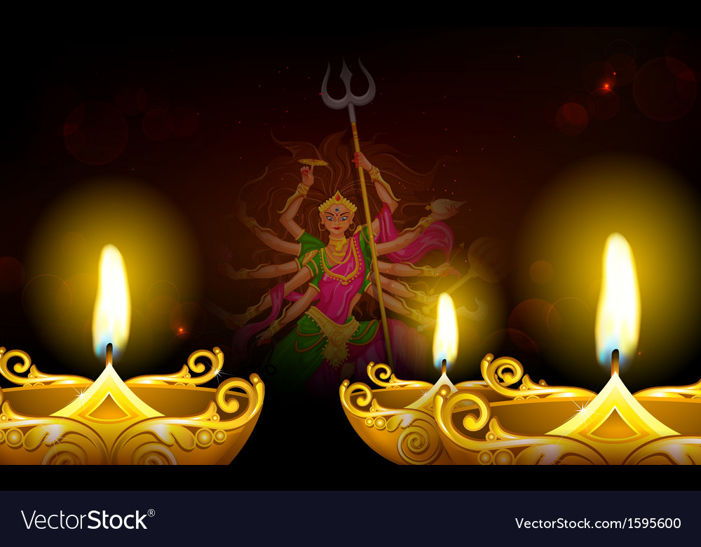 Happy dussehra with goddess durga vector | Price: 1 Credit (USD $1)