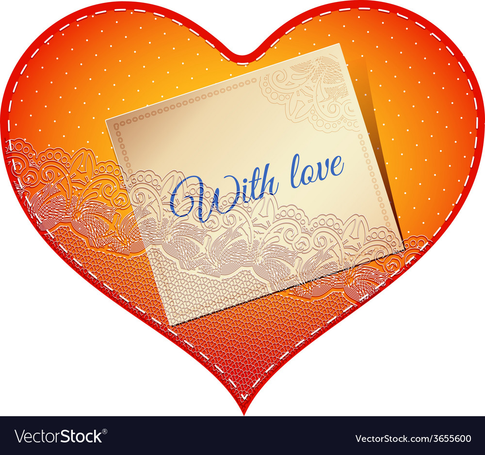 Lace heart card vector | Price: 1 Credit (USD $1)