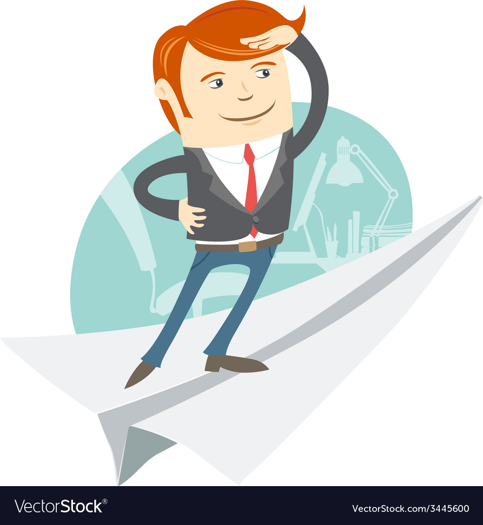 Office man flying on paper plane vector | Price: 1 Credit (USD $1)