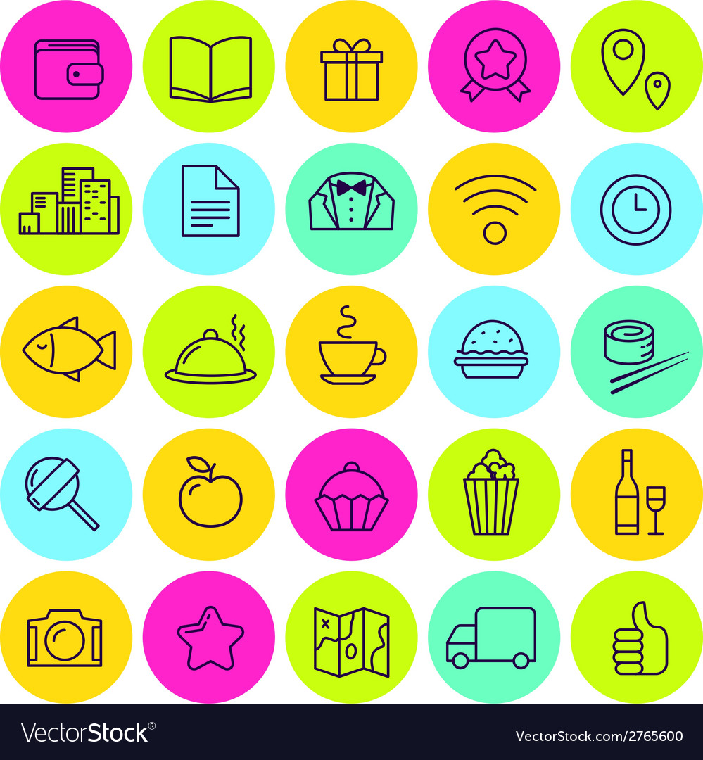Set of food icons and signs for cafe vector | Price: 1 Credit (USD $1)