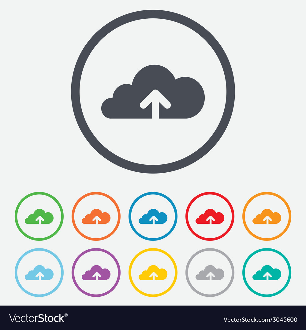 Upload to cloud icon upload button vector | Price: 1 Credit (USD $1)