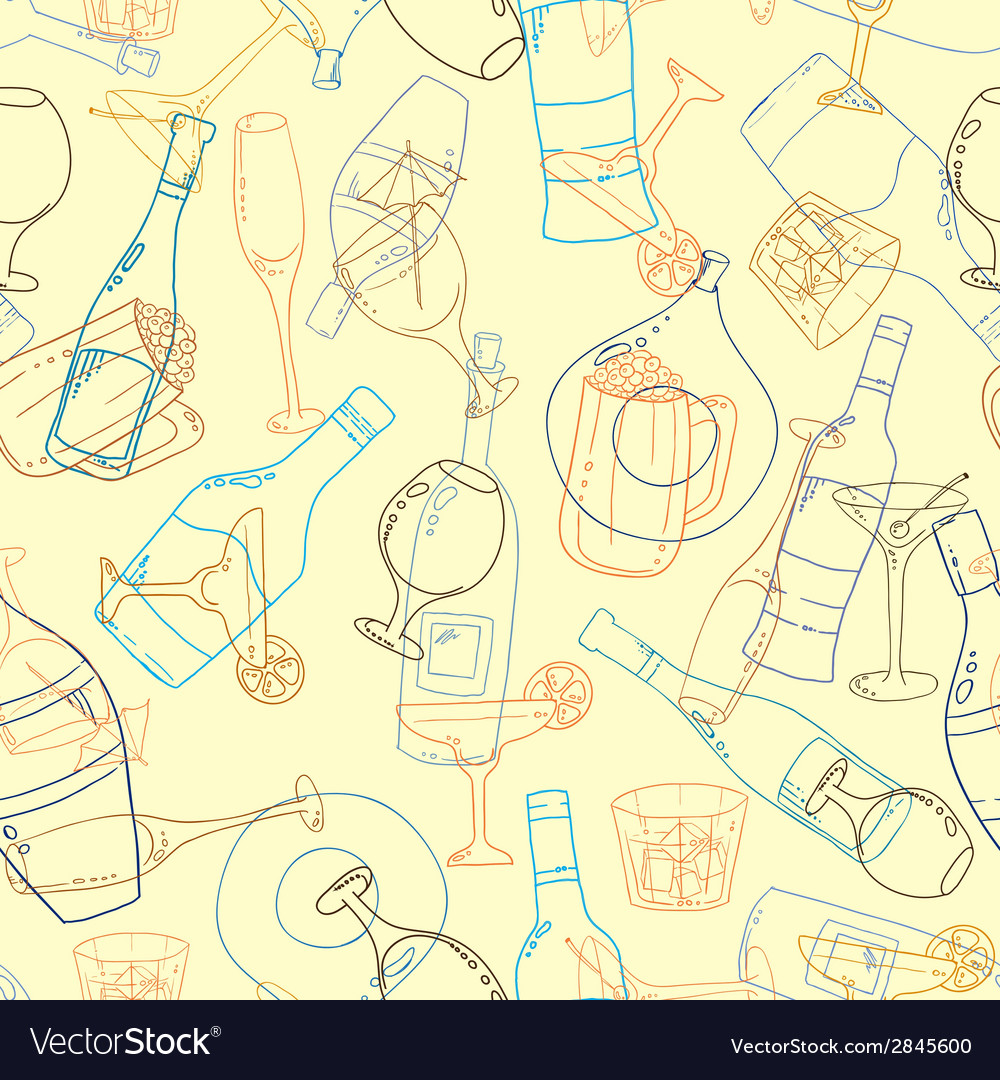 Wine and cocktail seamless background vector | Price: 1 Credit (USD $1)