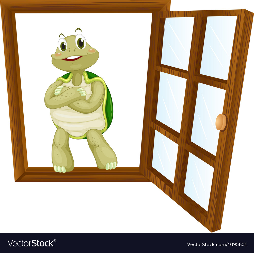 A tortoise in window vector | Price: 1 Credit (USD $1)