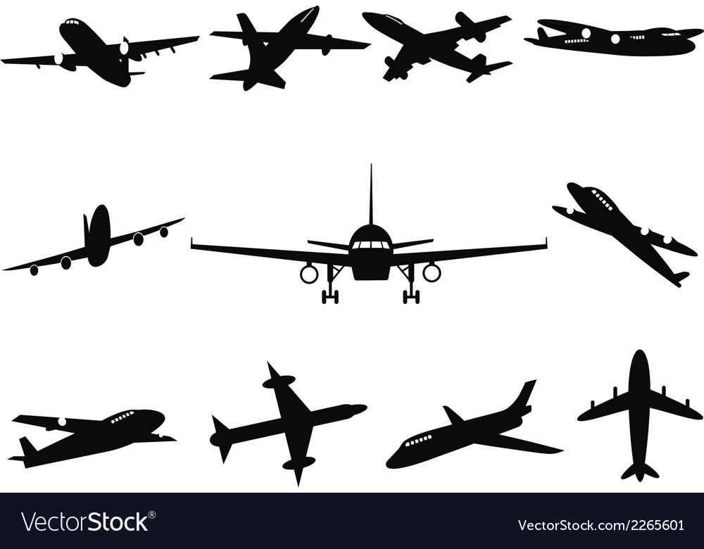 Airplane silhouettes vector | Price: 1 Credit (USD $1)