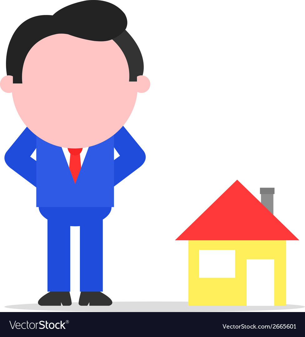 Businessman or realtor beside house vector | Price: 1 Credit (USD $1)