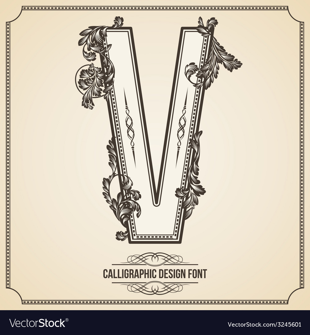 Calligraphic font letter v vector | Price: 1 Credit (USD $1)