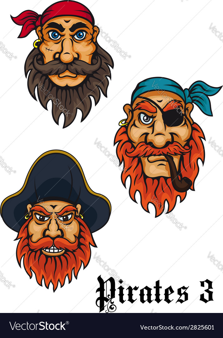 Cartoon fierce pirates set vector | Price: 1 Credit (USD $1)