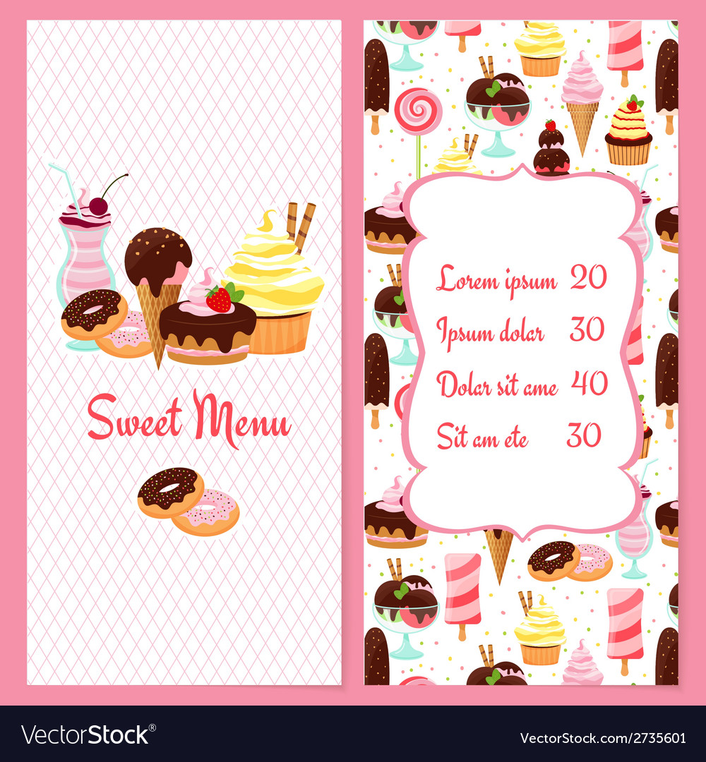 Dessert menu template vector | Price: 1 Credit (USD $1)