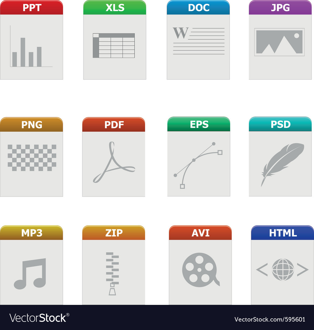 File type icons vector | Price: 1 Credit (USD $1)