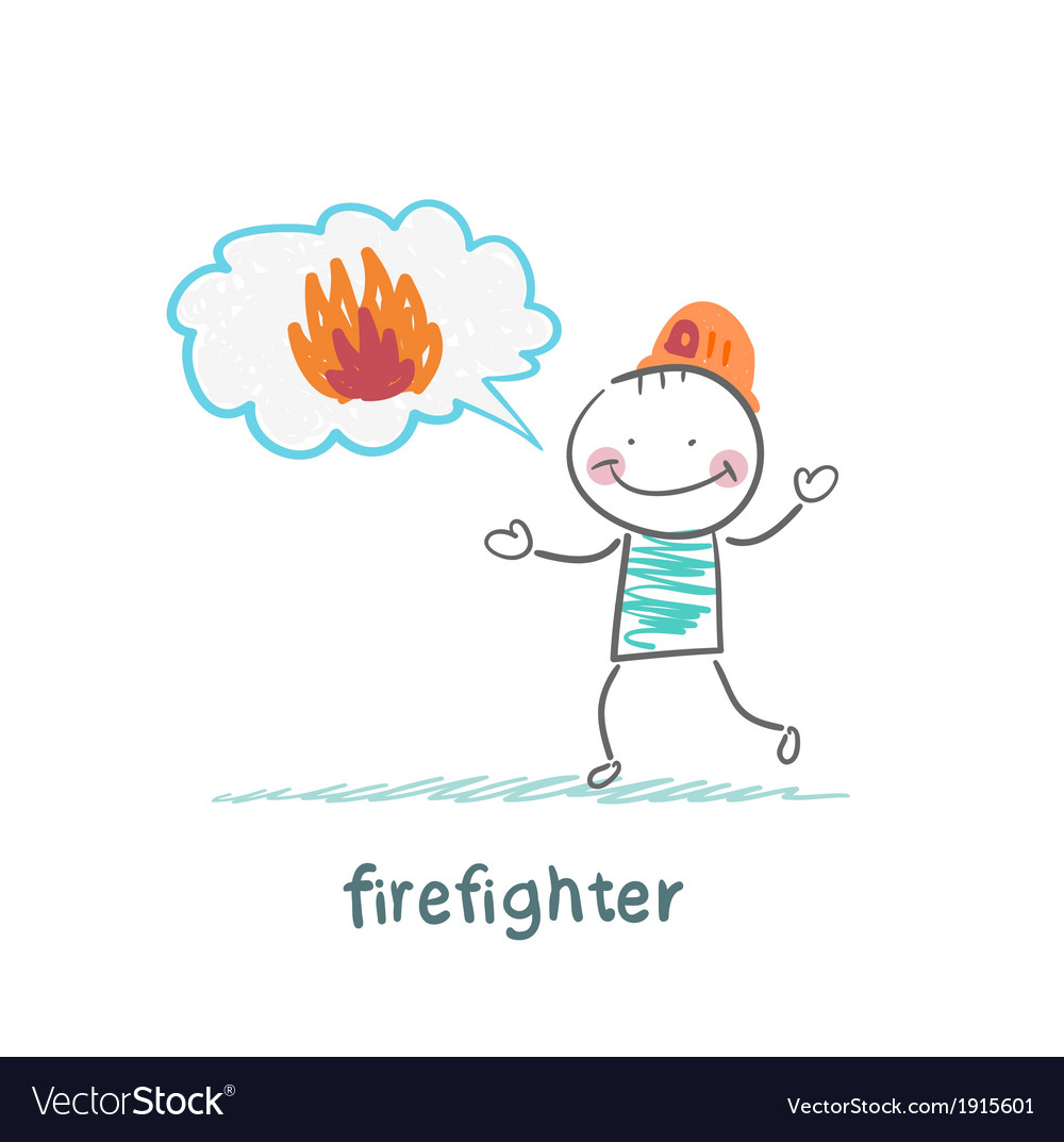 Firefighter thinks about fire vector | Price: 1 Credit (USD $1)