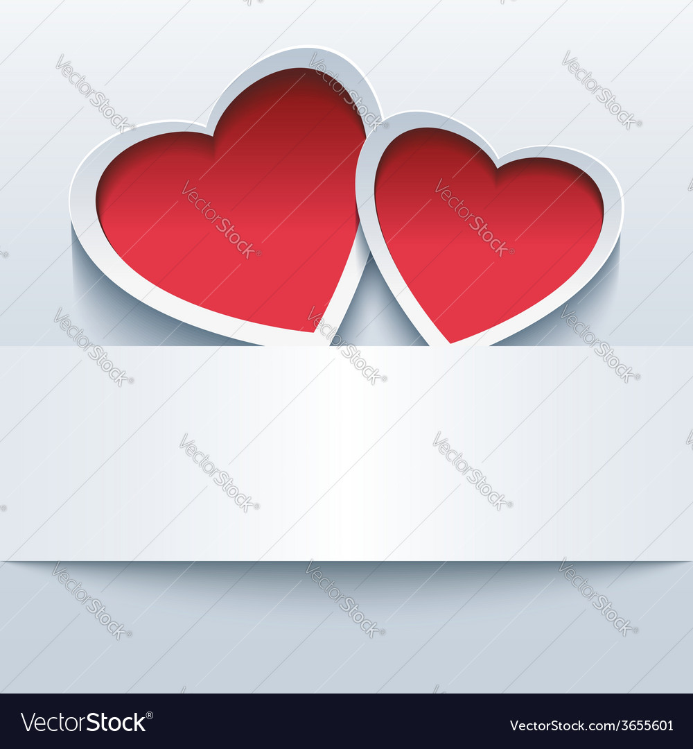Love background with two 3d hearts vector | Price: 1 Credit (USD $1)