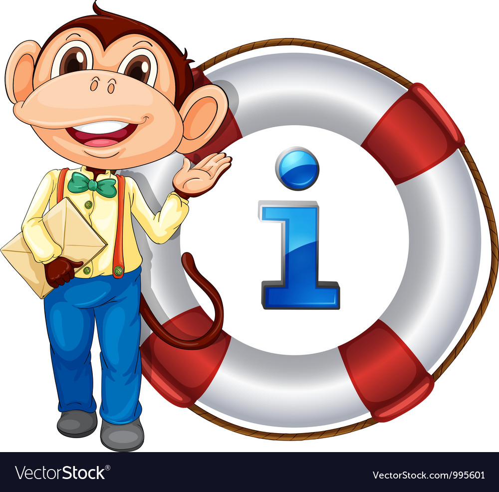 Monkey information kiosk sign vector