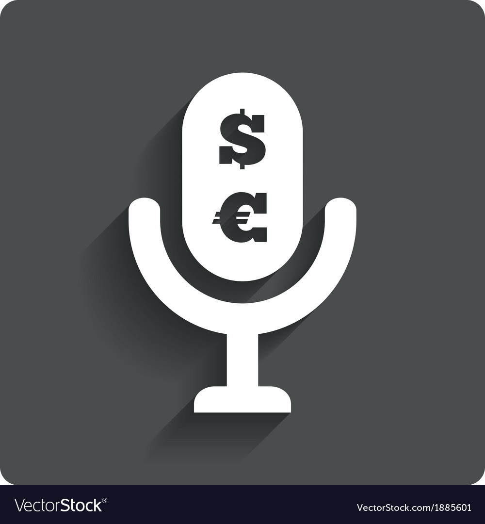 Paid music icon microphone dollar euro symbol vector | Price: 1 Credit (USD $1)