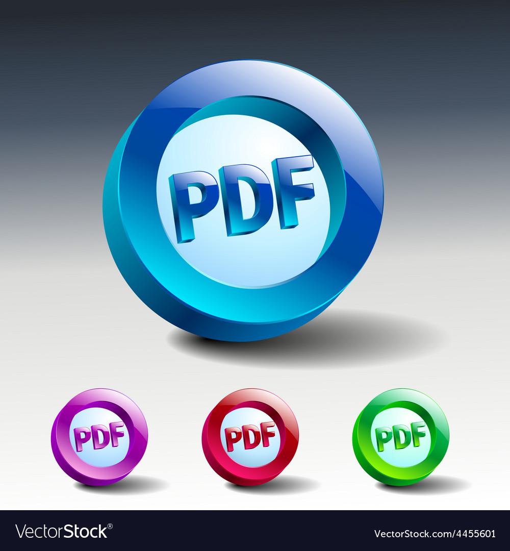 Pdf icon button internet document file vector | Price: 1 Credit (USD $1)