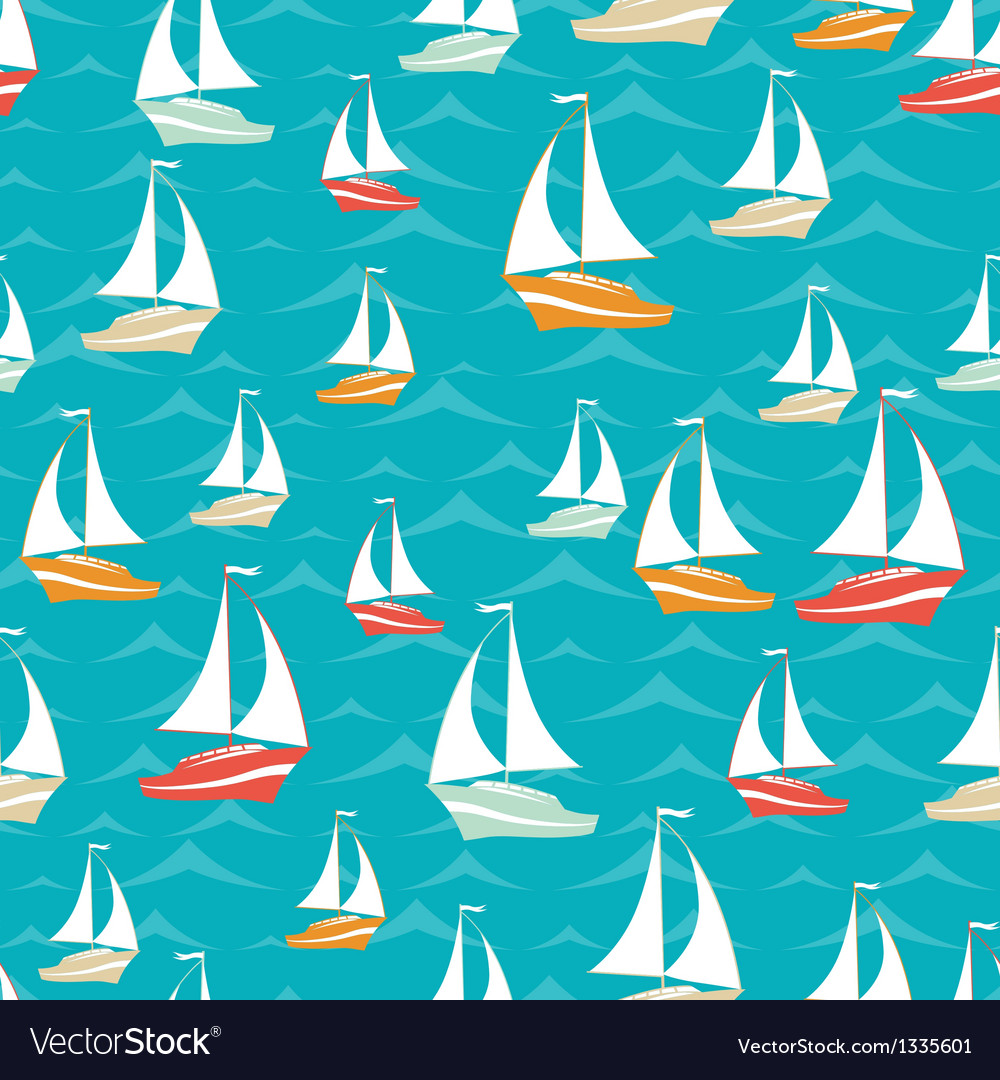 Retro seamless travel pattern of yacht vector | Price: 1 Credit (USD $1)
