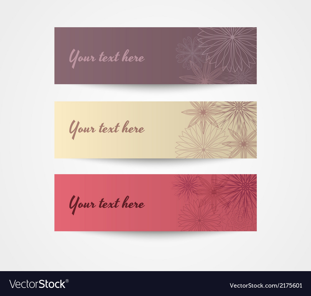 Set of three cards with flower pattern vector | Price: 1 Credit (USD $1)