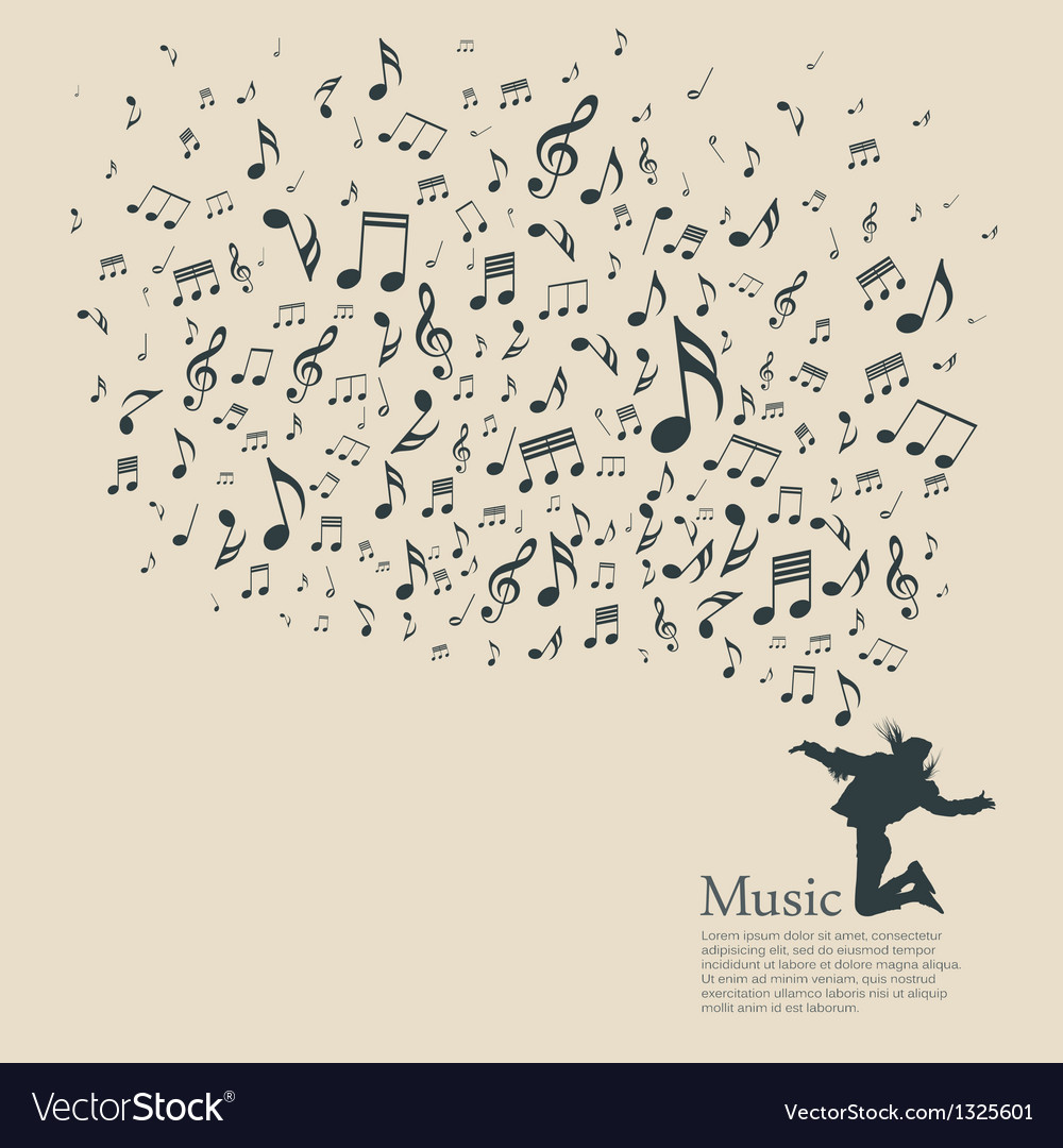 Silhouette various musical notes and people dance vector | Price: 1 Credit (USD $1)