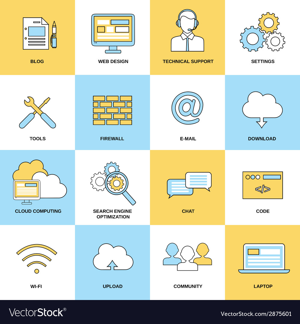 Web flat line icons vector | Price: 1 Credit (USD $1)