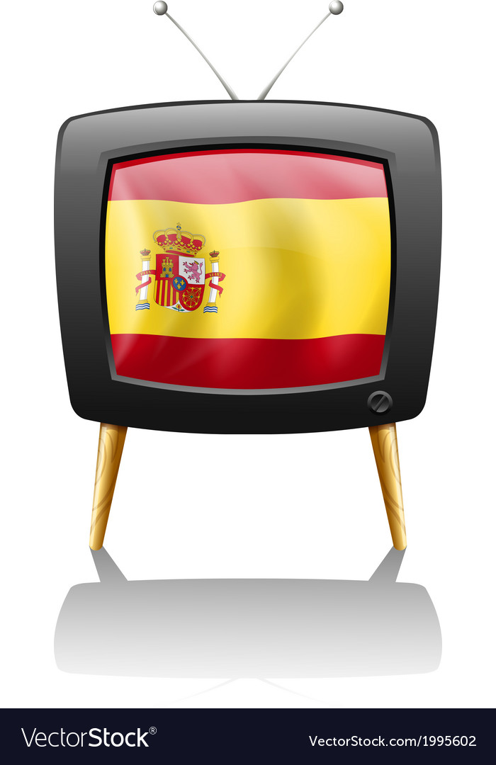 A tv with the flag of spain vector | Price: 1 Credit (USD $1)