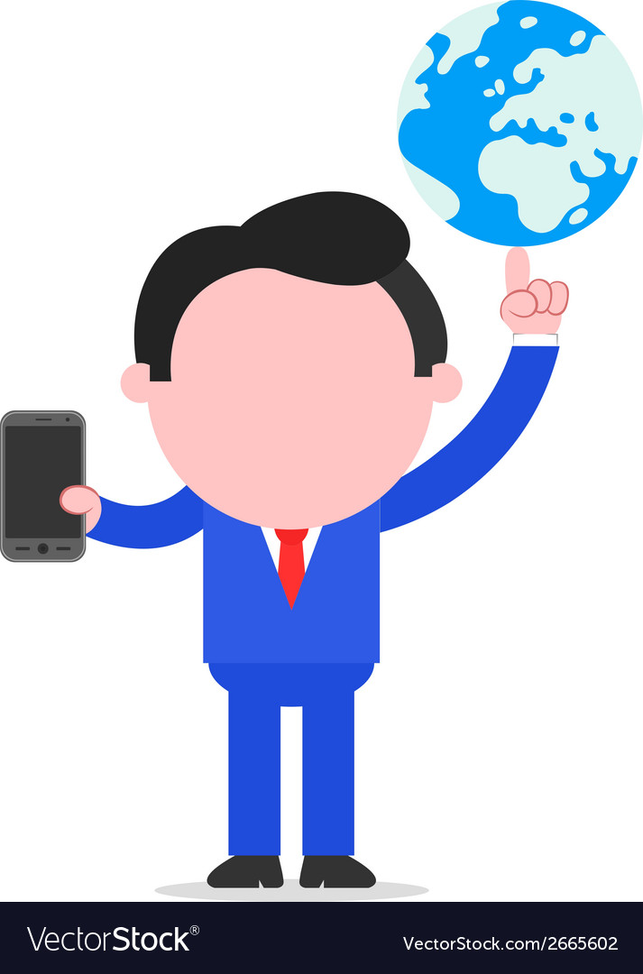 Businessman holding globe and smartphone vector | Price: 1 Credit (USD $1)