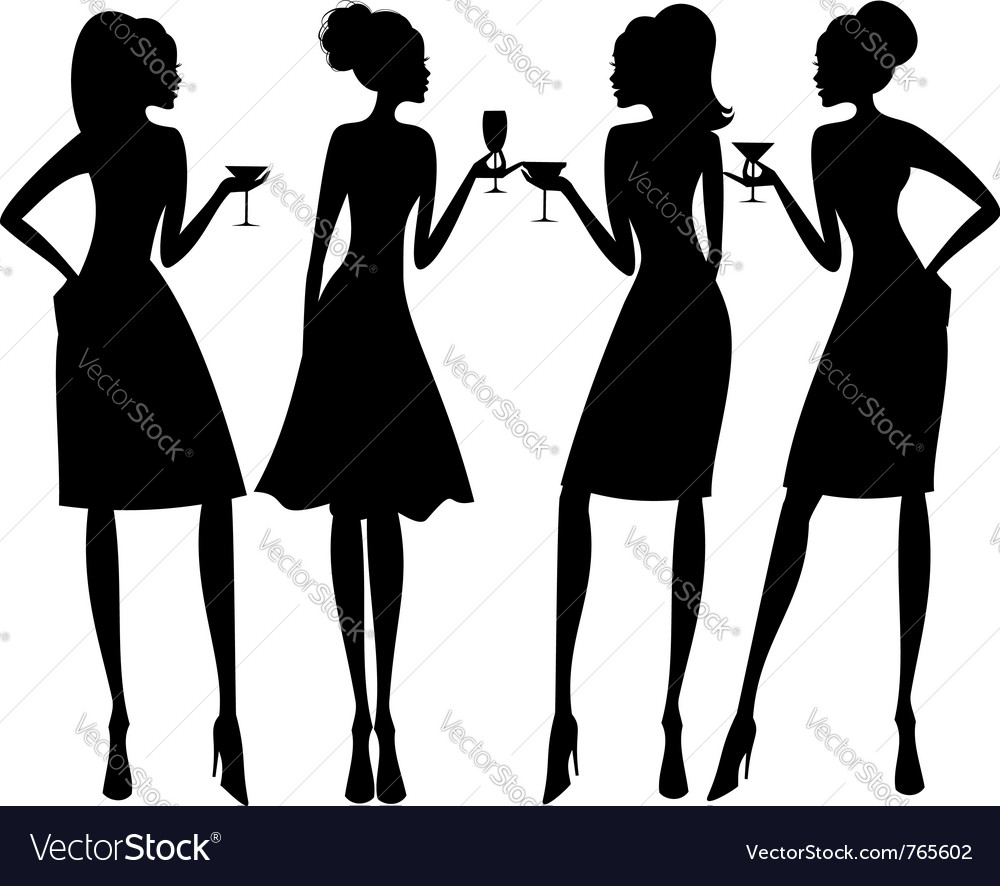 Cocktail party silhouettes vector