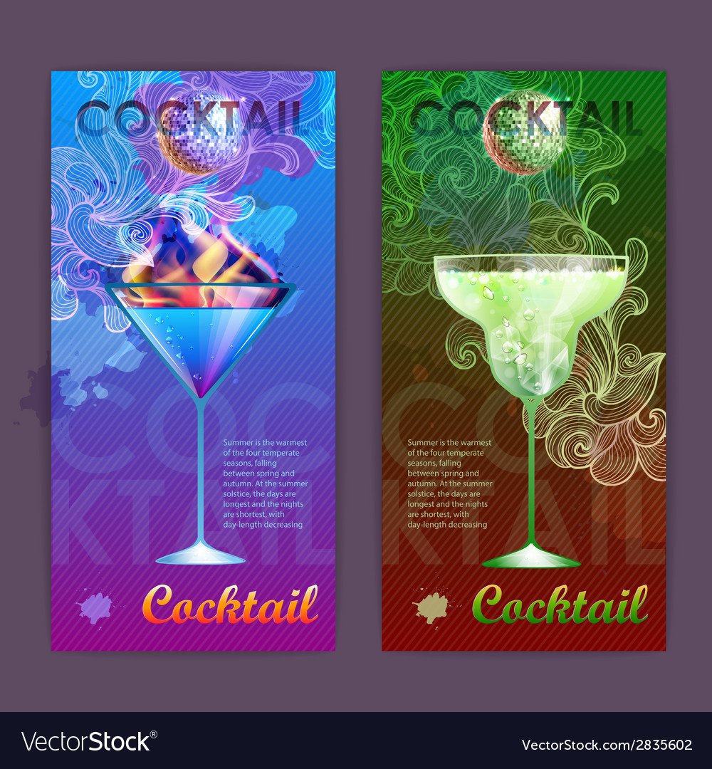 Cocktail poster disco background vector | Price: 1 Credit (USD $1)